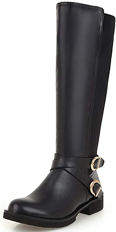 Ghsheh femme boucle antique croisée orteil orteil orteil rond bas talon arrière zip latéral zippé sous genoux bottes de cheval vit 7 m USA  skydd efter försäljning