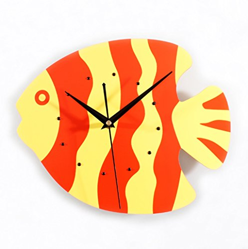 Sunjun Little Fish Clock Hanging Mignon Mode Creative Salon Chambre mur Horloge murale silencieuse ( Couleur : Orange Red )