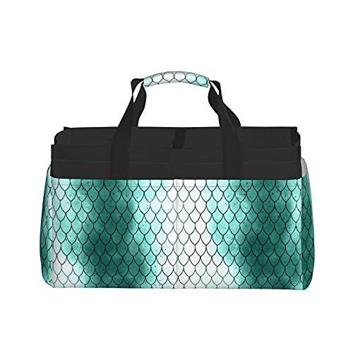 Scales - Bolsa de almacenamiento grande con rayas, color cian y turquesa, color blanco