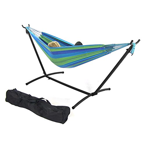 Sunnydaze Double Brazilian Hammock with Stand & Carrying Case - Large Two Person Hammock with Brazilian Stand - 400 Pound Capacity - Beach Oasis
