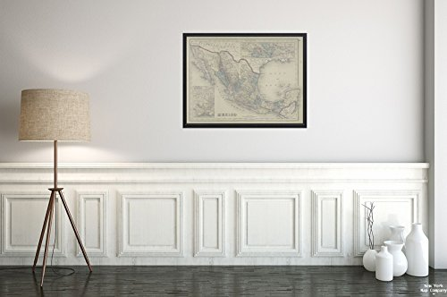 1876 Map Reading, Pa. Mexico; Mexico to Vera-Cruz; The Isthmus Tehuantepec Kochersperger, H. L.|Vintage Fine Art Reproduction|Ready to Frame