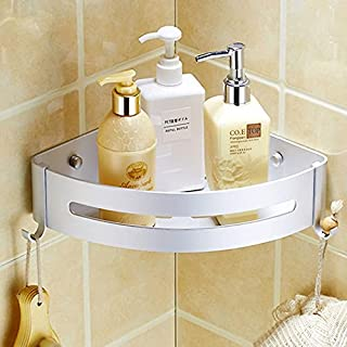 Kazeila Bathroom Shower Caddy, Space Aluminum Storage Shelf, Without Drilling, Self-Adhesive Glue with 2 Hooks for Hanging...