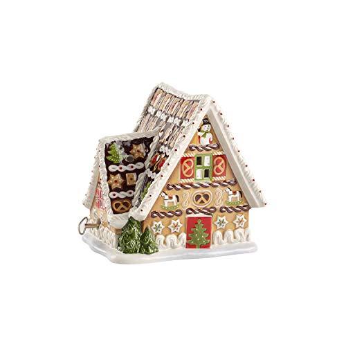 Villeroy & Boch Lebkuchenhaus mit Spieluhr und Teelichthalter, Hartporzellan, Lebkuchen, 21 x 21 x 18.5 cm