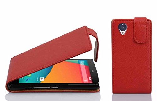 Cadorabo Funda para LG Nexus 5 in Rojo Infierno - Cubierta Proteccíon Estilo Flip de Cuero Sintético Estructuro - Etui Case Cover Carcasa