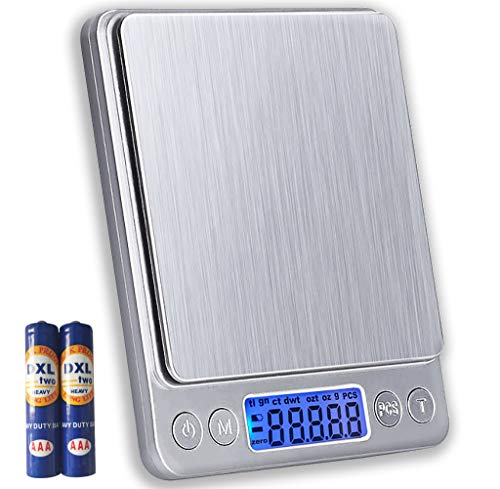 JOEAA Bilance da cucina grammi Peso digitale 0.01g/500g con display LCD, tara, 6 unità, 2 vassoi, batterie incluse - Acciaio inossidabile