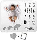 Baby Monthly Milestone Blanket   Includes Bib and Picture Frame   1 to 12 Months   Premium Extra Soft Fleece   Best Photography Backdrop Photo Prop for Newborn Boy & Girl