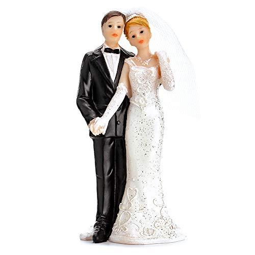 DekoHaus Tortenfigur Brautpaar- Weißes Kleid 11 cm Tortenaufsatz Tortendeko Hochzeit PF14