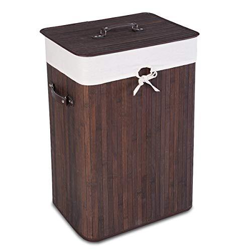 COSTWAY 72L Wäschekorb, Wäschebox Bambus, Wäschetruhe Wäschesammler Wäschetonne mit Wäschesack (Braun)
