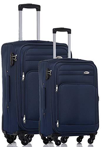 TOP-Trolley-Koffer-Set - 2-teilig - 63+53cm, Dehnfalte, 4 Rollen. (Blau)