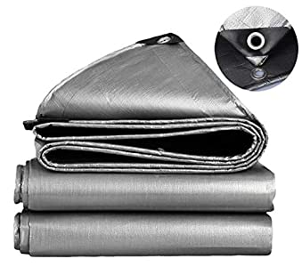 SOVIYAS Lona de alta resistencia Lona reforzada Ojales gruesos 4m x 6m 13ft x19ft (4 x 6 m,150g/m²) Lona de PE Lona de lona gris plata impermeable Lona de calidad superior para acampar al aire libre