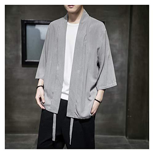 Hombres Haori Kimono Cardigan Verano Algodn Lino Samurai Suelto Masculino Yukata Chaqueta Streetwear Ropa asitica Ropa Japonesa Robas (Color : Gray, Size : 3XL)