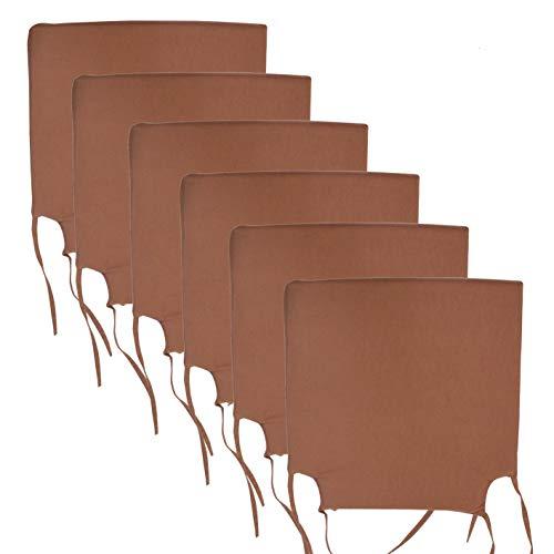 Arcoiris Pack de 6 Cojines de Asiento y Silla, 40x40X3cm,Cojín Silla Loneta, Cómodos, Resistentes, para Cocina, Cuarto, Sala, Jardín, Terraza, Patio, (Espuma, Gris) (Pack 6 Cojines, Marrón)