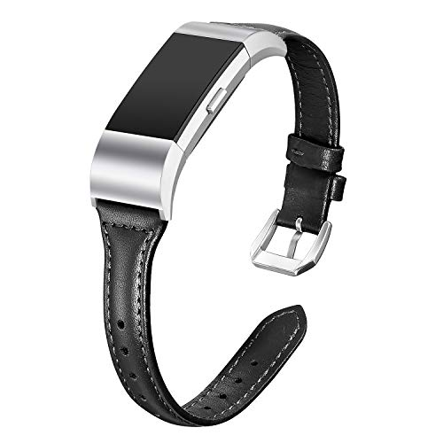 bayite Bands Compatible Fitbit Charge 2, Slim Genuine Leather Band Replacement Accessories Strap Charge2 Women Men, Black Small