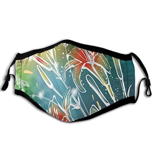 Cómodo máscara resistente al viento, tema de primavera, hojas digitales, lilas con imagen de rayos de sol, decoraciones faciales impresas para adultos unisex