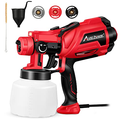 AVID POWER Paint Sprayer, 700W Spray Paint Gun, HVLP Electric Spray Gun with 1200ml Container, LED Light, 3 Patterns & 3 Copper Nozzles for Fence and House Painting, Easy to Clean