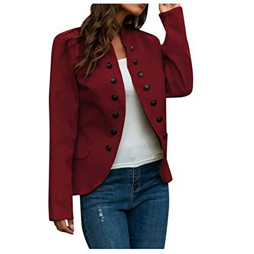 WYZTLNMA 2020 New Women Winter Warm Jacket Womens Plus Size Buttons Long Sleeve Coat Ladies Office Jacket Outwear Tops Red