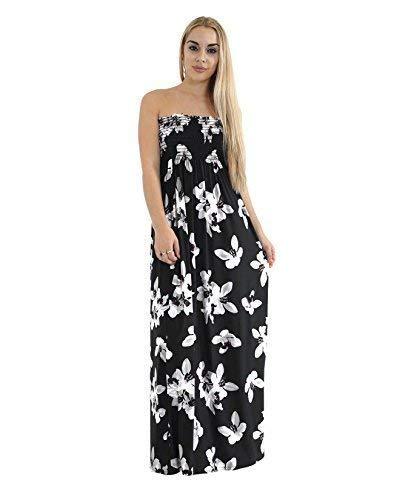 Fashion Chic - Vestido largo sin tirantes para mujer, tallas grandes, para verano, estampado