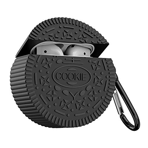Silicone Airpods case Cover, SUNGUY Cute Cookie Design Funny Soft Protective Skin with Carabiner for Apple Airpod 2 & 1 Charging Case for Girls (Black)