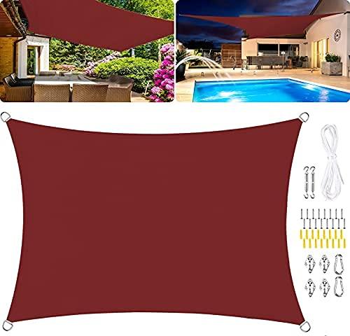 HYLX Parasol rectangular de poliéster, impermeable, toldo de jardín, 95% UV, toldo de poliuretano impregnado a prueba de viento, kits de fijación, color rojo óxido