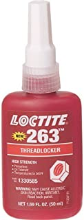 Loctite 1330585 263 Threadlocker Adhesive, High Strength and Primerless, Red, 50 ml Bottle -2 pack