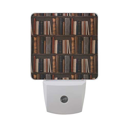AOTISO Luz de la noche Estantería de la vendimia Biblioteca misteriosa, señor automático Luz del atardecer al amanecer Luz enchufable