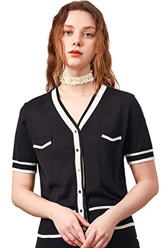 zhili Womens Knop Omlaag Korte mouw Gehaakte Vest Gehaakte Sweater(S-4X)