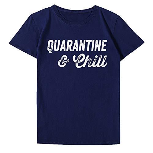W&TT Camiseta para Hombres y Mujeres - Quarantined & Chill Social Distancing Camiseta de Manga Corta 2020 Nuevo,Armada,XXL