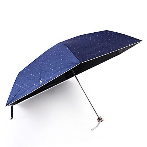 ポロラルフローレン POLO RALPH LAUREN 傘 折りたたみ傘 折り畳み傘 かさ 雨晴兼用 雨具 雨傘 日傘 レイングッズ 軽量 パラソル 刺繍 ドット シンプル コンパクト (ネイビー)