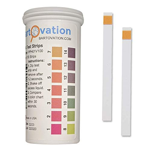 pH 1-14 Wide Range Test Strips [Moisture-Proof Vial of 100 Strips] Made in...
