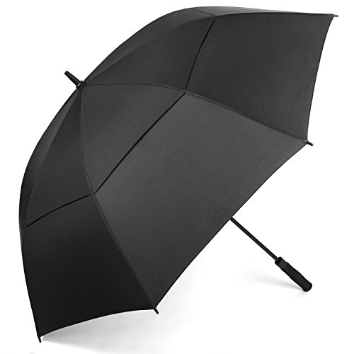 Rainlax Windproof Golf umbrella 62 Inch Extra Large Double Canopy Automatic Open Outdoor Rain&Wind Umbrellas (Black)
