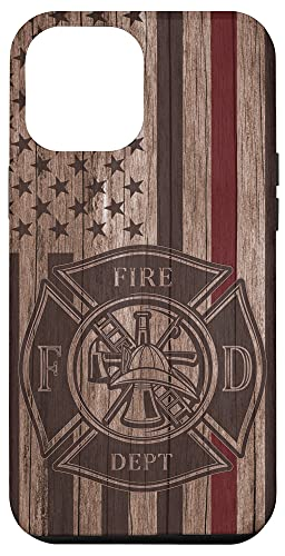 iPhone 12 Pro Max Wood Fireman American Flag Thin Red Line US Firefighter Gift Case