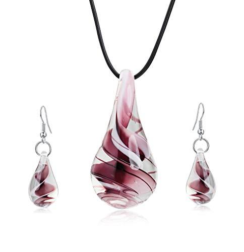 Aituo Set di orecchini con collana in smalto colorato a spirale di design ispirato alla personalità di Murano (Viola)