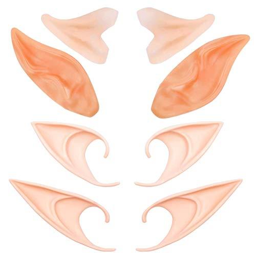 Orejas de elfo de látex Orejas de elfo para fiesta de Halloween Puntas protésicas puntiagudas Oreja, duendecillo de hadas, disfraz de duendecillo, orejas de duende puntiagudas suaves (4 pares)