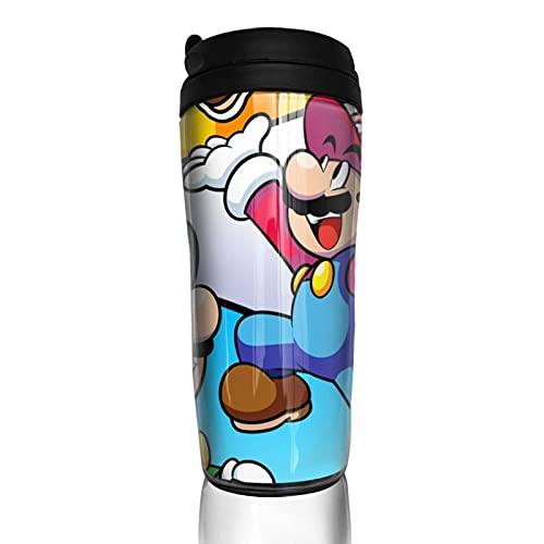 Super Smash Bros Mario taza de café hombres mujeres aislamiento agua taza viaje oficina trabajo al aire libre novedad regalo cumpleaños 12 oz capacidad