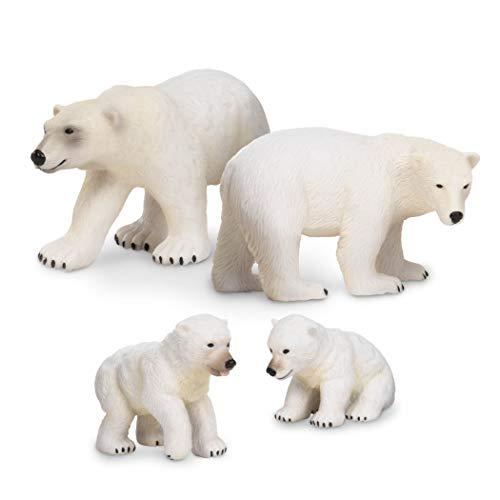 Terra by Battat – Polar Bear Family - Polar Bear Animal Toys for Kids 3-Years-Old & Up (4 Pc), Multicolor