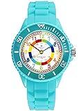 Alienwork Kids Lernuhr Kinderuhr Mädchen Uhrzeit Lernen Türkis Silikon-Armband Mehrfarbig Kinder-Uhr Wasserdicht 5 ATM Zeit Lernen