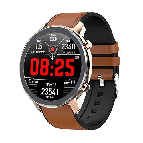 LXF JIAJU Smart Watch 1.3inch Pantalla Táctil Completa IP68 Monitor De Frecuencia De Ritmo Cardíaco Impermeable Impermeable Monitor De Presión Arterial (Color : ReseGlod Brown)