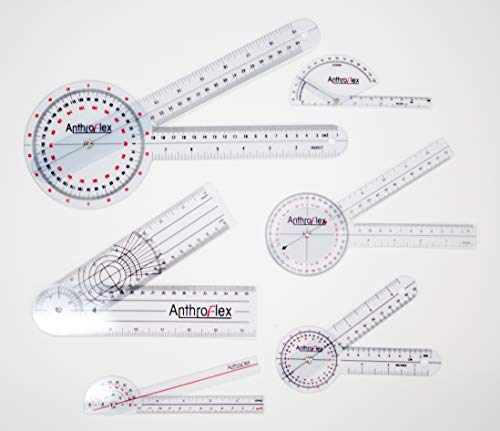 AnthroFlex Goniometros Fisioterapia de Plastico Duradero, Set de 6