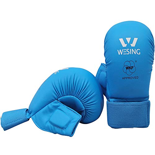 Wesing WKF Sparring Karate Gloves with Thumb Protection Blue Red