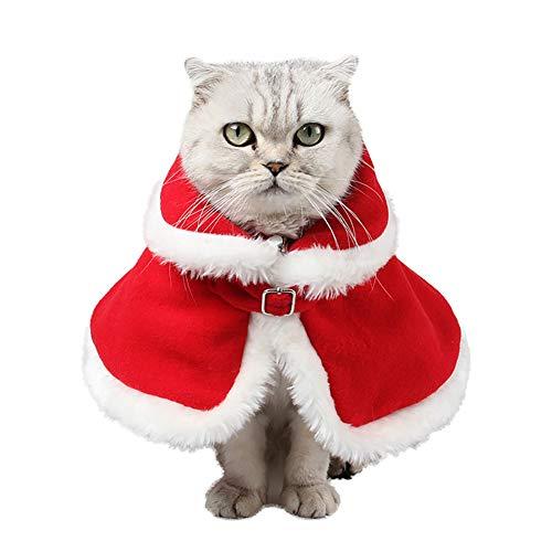PET HOUND Katzen Kleidung Hundekostüm, Weihnachten Haustier Kleidung, Weihnachten Katzen Kleidung, Winddichter Warmer Roter Samtmantel des Katzenmantels, Weihnachtsdekorationen