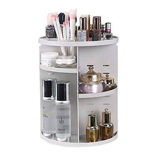 Gearific Organizador de maquillaje giratorio de 360 grados, organizador de cosméticos ajustable, gran capacidad, ideal para aparador de baño encimera