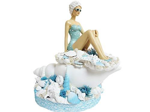 Maritime Deko Sommer Deko MEERESBRISE Badenixe weiß blau Landhaus Tischdekoration Sommergesteck Luxus Wohndeko Muscheln Shabby Chic Tischdeko groß