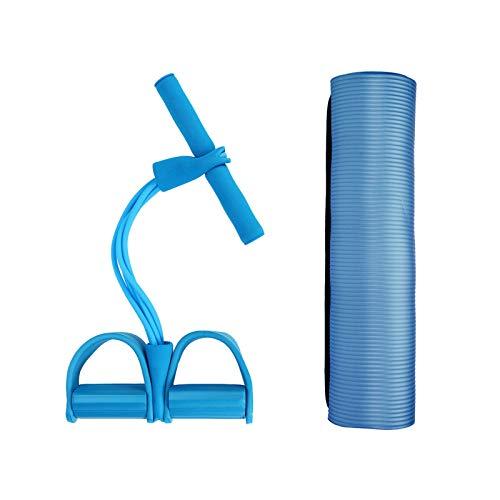 Joycaling MatYoga Mat Pedal de cuerda de resistencia banda de resistencia para entrenador deportivo interior kit de fitness para principiantes y yoga avanzado (tamaño: 183 x 61 cm; color: azul)