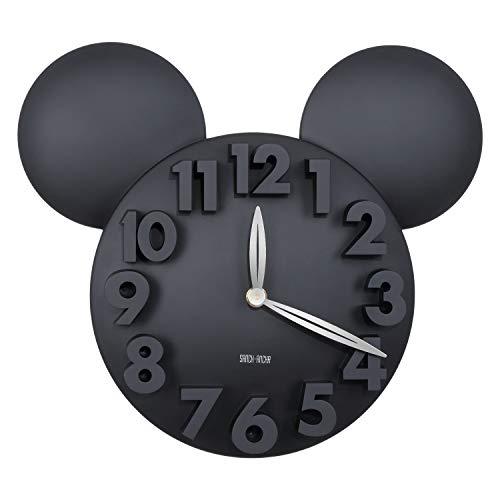Sanch Ancha Mickey Mouse - Reloj de pared con pilas, para decoración del hogar, para habitación de niños, 3D, 3D, 3D, 31,75 cm, color negro