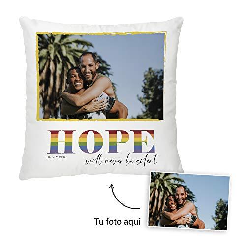 Fotoprix Cojín Personalizado con Foto y diseño 'Hope' | Regalo Original LGTB - Harvey Milk | Varios diseños y tamaños (Hope, 35 x 35 cms)