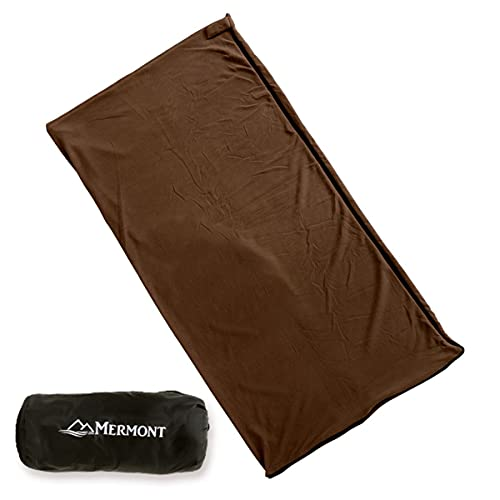 MERMONT インナーシュラフ 寝袋 毛布 ブランケット インナーシーツ フリース 丸洗い可能 軽量 暖かい 肌触り良い 車中泊 キャンプ 災害 (ブラウン)