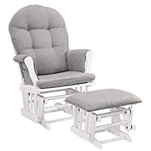 Nursery Glider Chair Rocker and Ottoman in White for Baby and Mothers