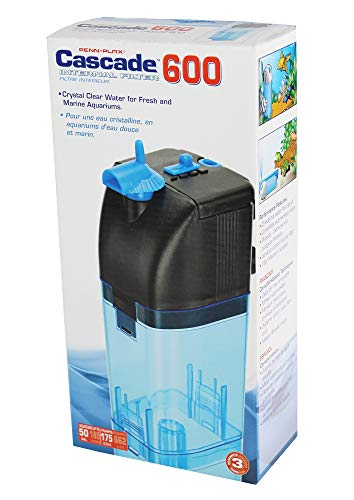 Penn-Plax Cascade 600 Submersible Aquarium Filter Cleans Up to 50 Gallon Fish Tank with Physical, Chemical, and Biological Filtration, CIF3
