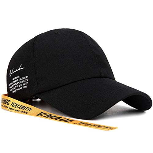 NZMAOZI Gorras Gorra De Béisbol Ajustable De Los Hombres De La Calle Snapback Capsula Carta Unisex En El Sombrero De Algodón De Color Amarillo,Negro,54-60Cm
