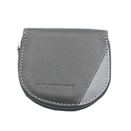 EGON FURSTENBERG Portamonete in pelle spiccioli monetine modello tacco con zip 8755 nero grigio